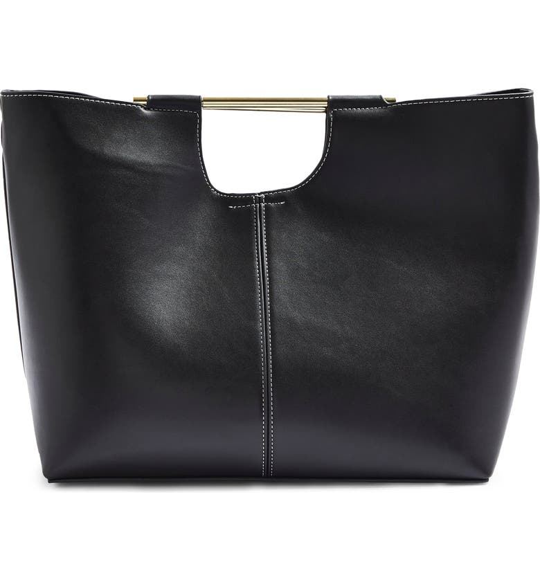 TOPSHOP Tina Faux Leather Tote, Main, color, BLACK