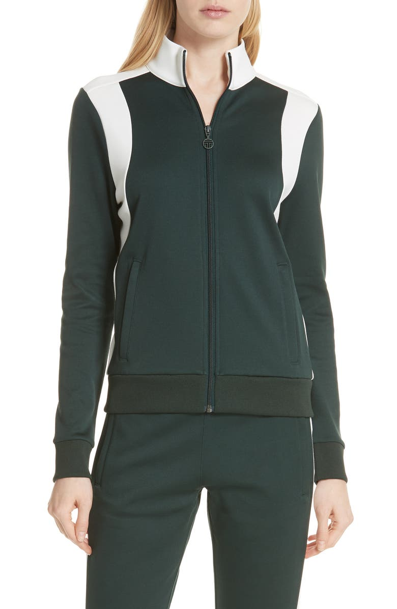 TORY SPORT Colorblock Track Jacket, Main, color, CONIFER