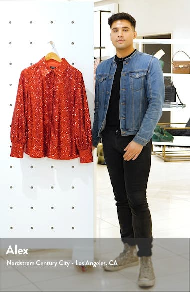 x Atlantic-Pacific Bishop Sleeve Sequin Shirt, sales video thumbnail
