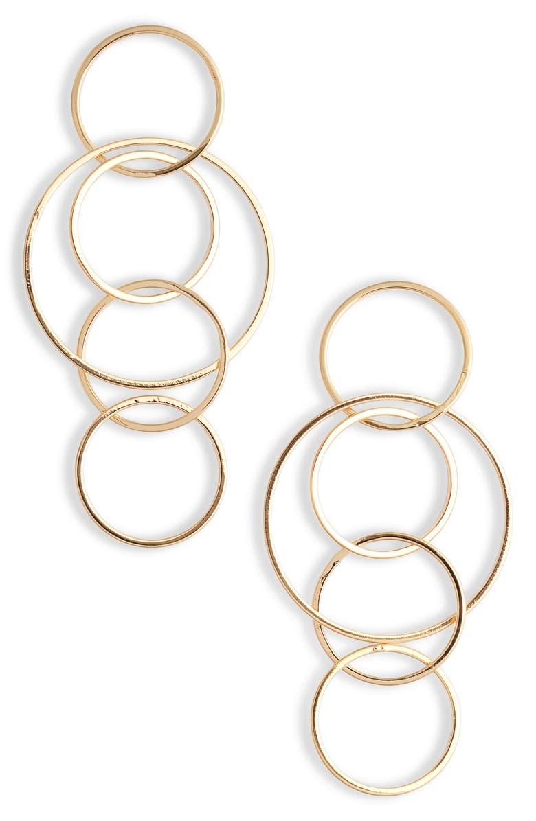 STERLING FOREVER Linked Hoop Drop Earrings, Main, color, GOLD
