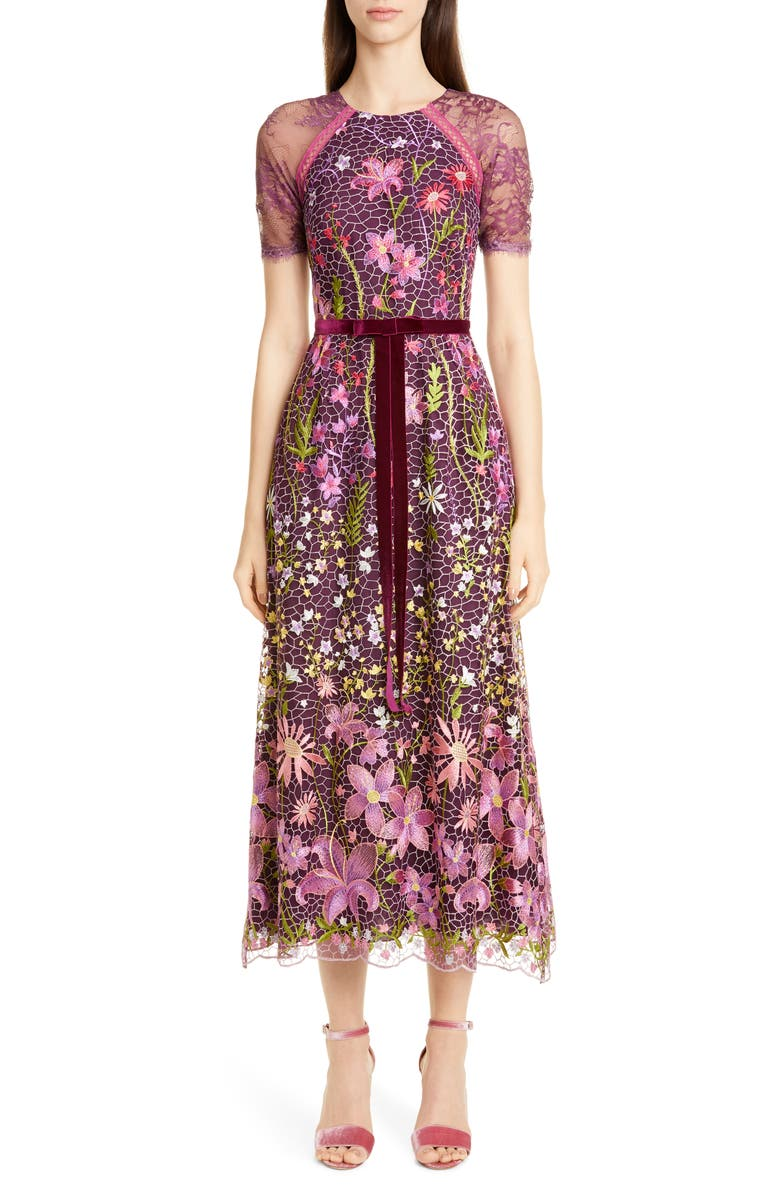 MARCHESA NOTTE Embroidered Midi Cocktail Dress, Main, color, 930