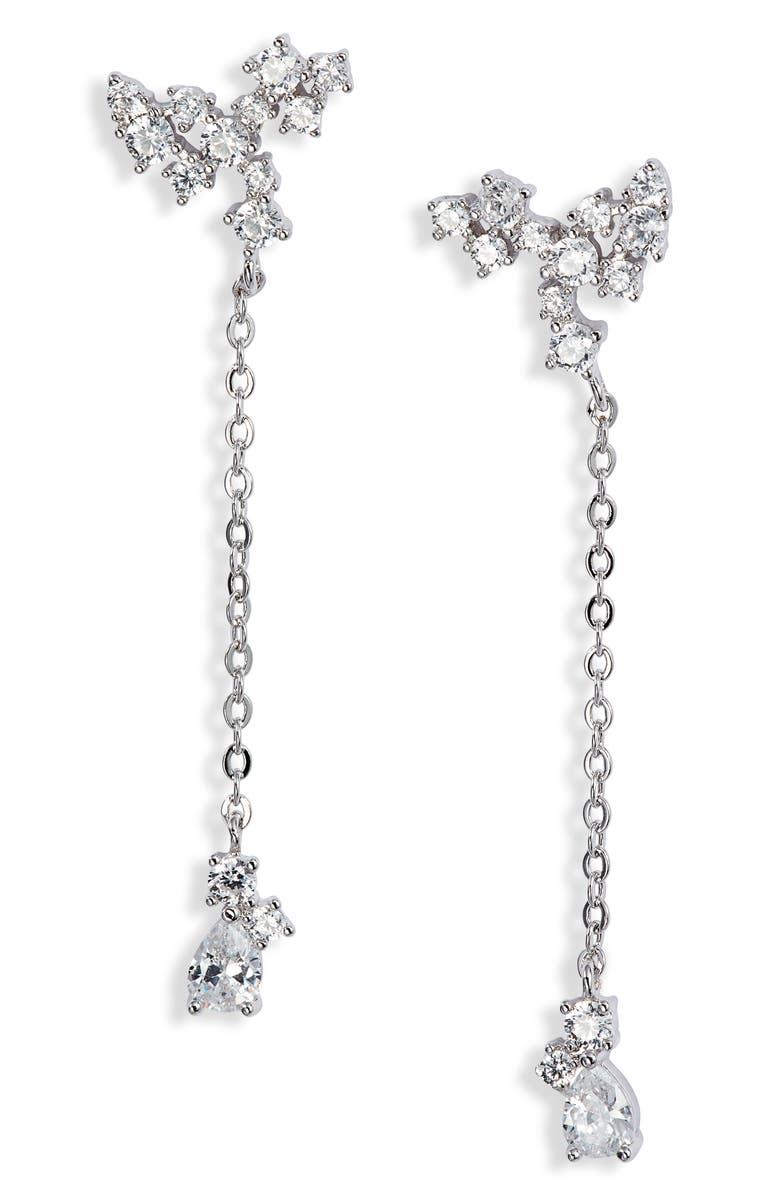 NORDSTROM Cubic Zirconia Cluster Drop Earrings, Main, color, CLEAR- SILVER