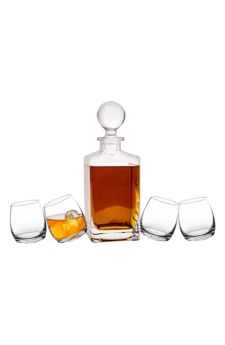 CATHY'S CONCEPTS Tipsy Whiskey 5-Piece Decanter Set, Main, color, 100