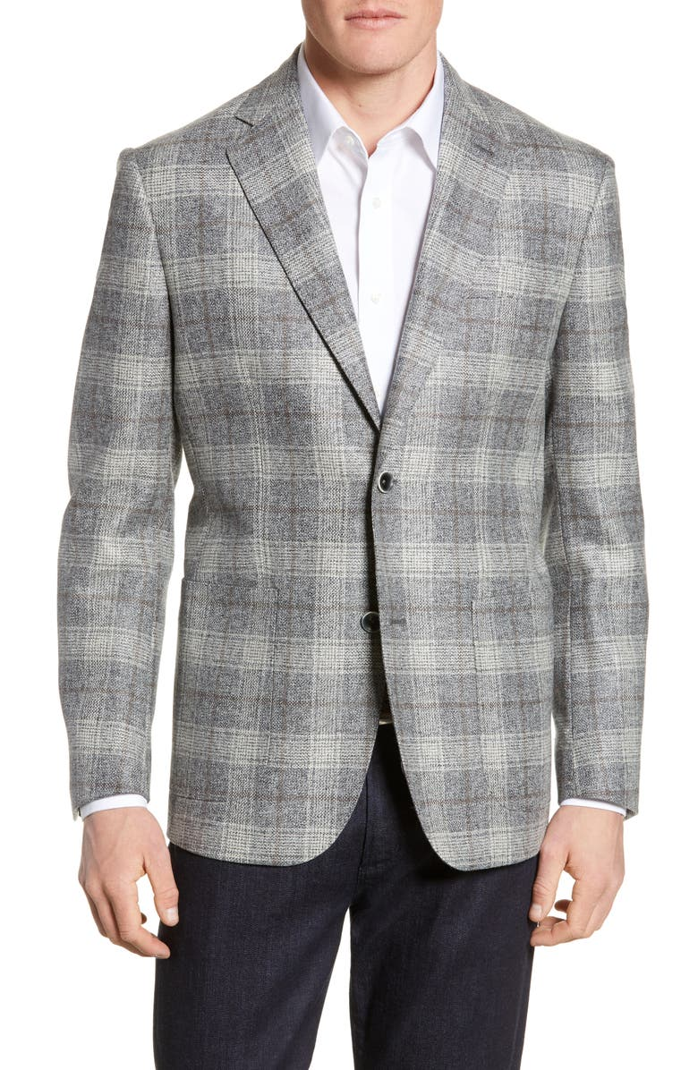 NORDSTROM SIGNATURE Trim Fit Plaid Wool Sport Coat, Main, color, GREY WHITE EXPLODED PLAID
