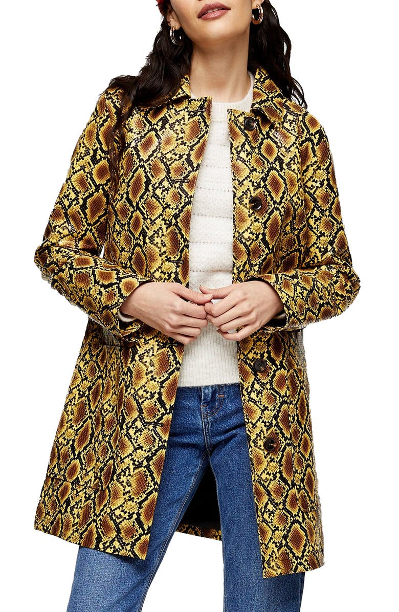 TOPSHOP Snake Embossed Car Coat, Main, color, YELLOW MULTI