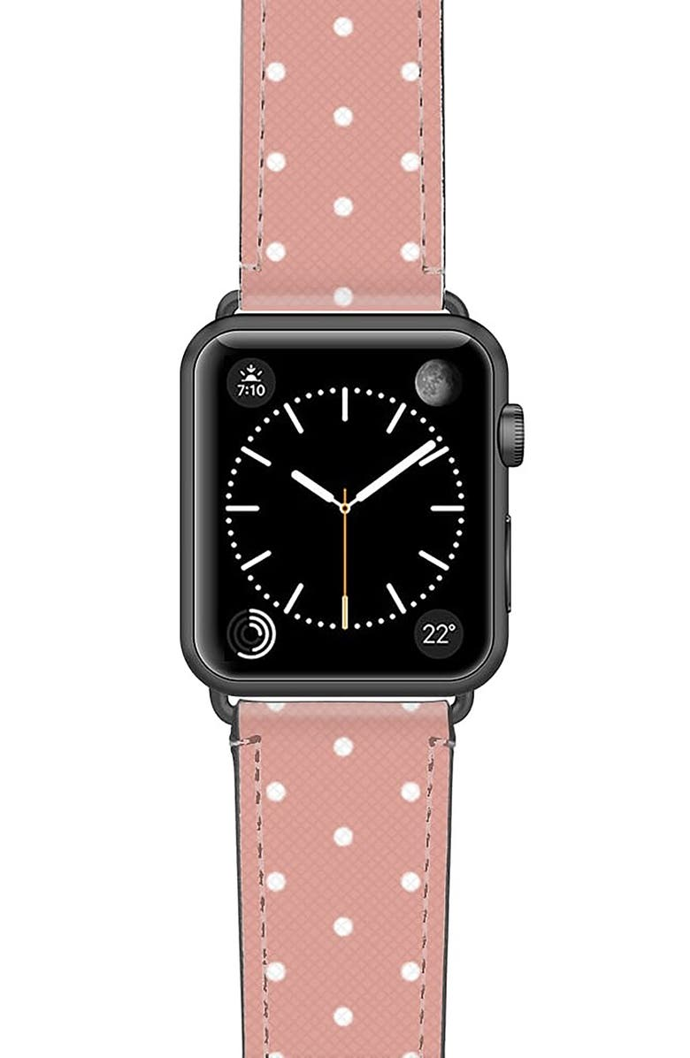 CASETIFY Polka Dots Saffiano Faux Leather Apple Watch<sup>®</sup> Strap, Main, color, PINK/ WHITE/ SPACE GREY