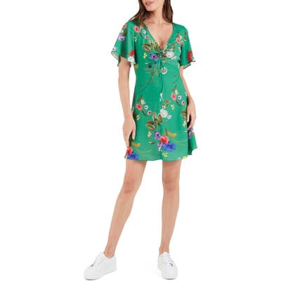 Cooper St Kaia Floral Gathered Tie Front Minidress, Green
