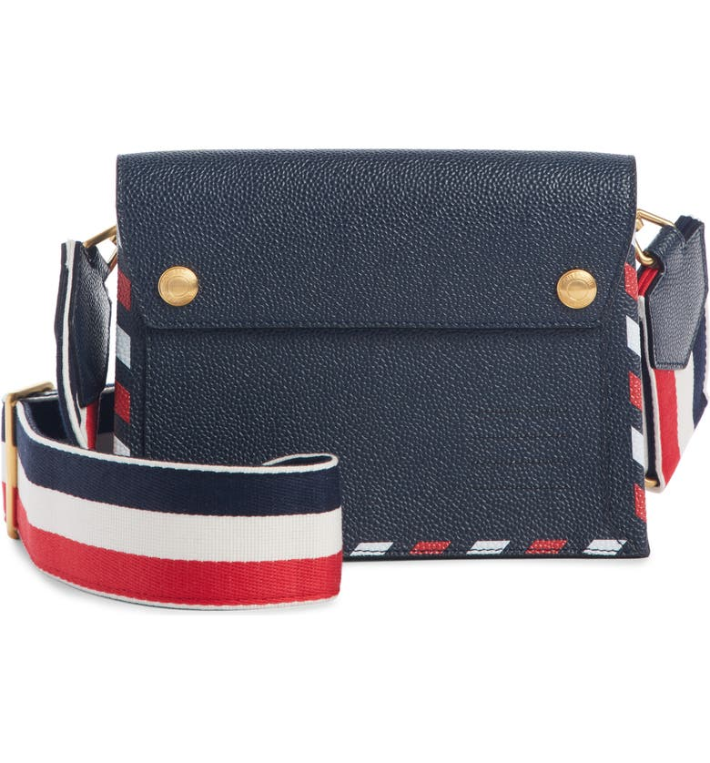 THOM BROWNE Pebbled Leather Envelope Crossbody Bag, Main, color, NAVY