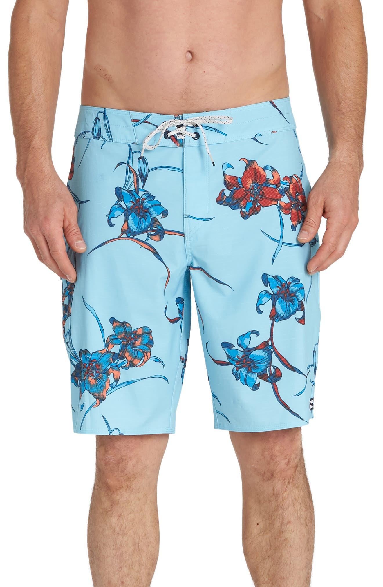 Billabong All Day Floral Pro Board Shorts, Blue