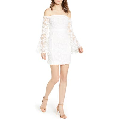 Endless Rose Off The Shoulder Lace Minidress, White