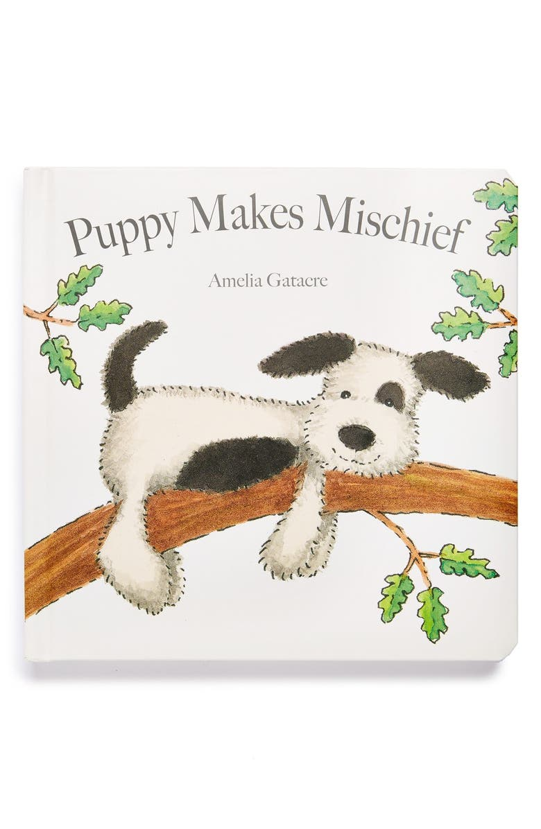 JELLYCAT 'Puppy Makes Mischief' Board Book, Main, color, NO COLOR