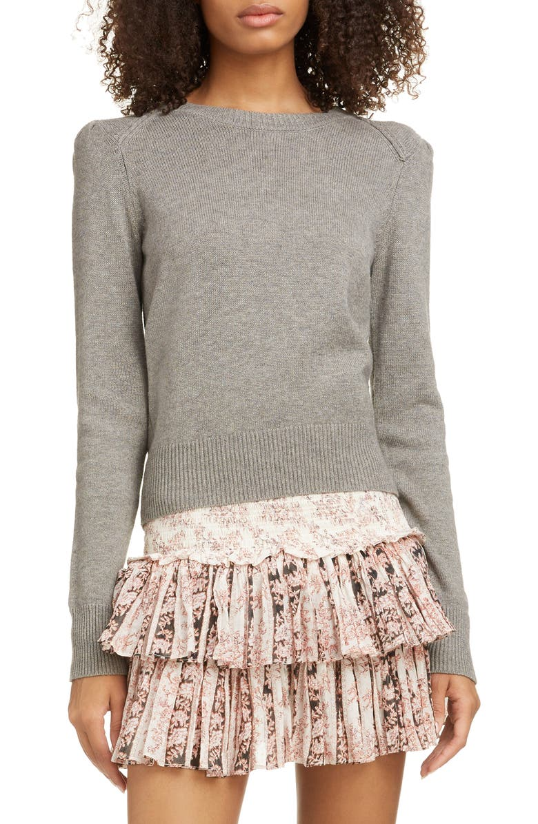 ISABEL MARANT ÉTOILE Kleely Puff Sleeve Cotton & Wool Sweater, Main, color, GREY