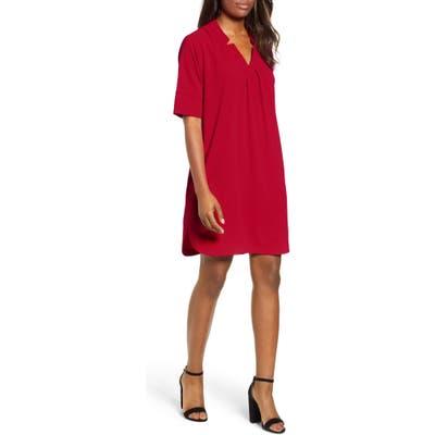 Petite Bobeau Pleat Front Curved Hem Shirtdress, Red