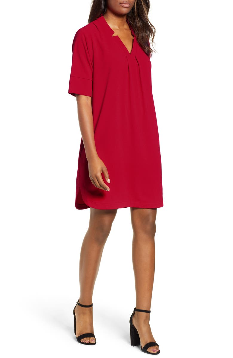 BOBEAU Pleat Front Curved Hem Shirtdress, Main, color, RED