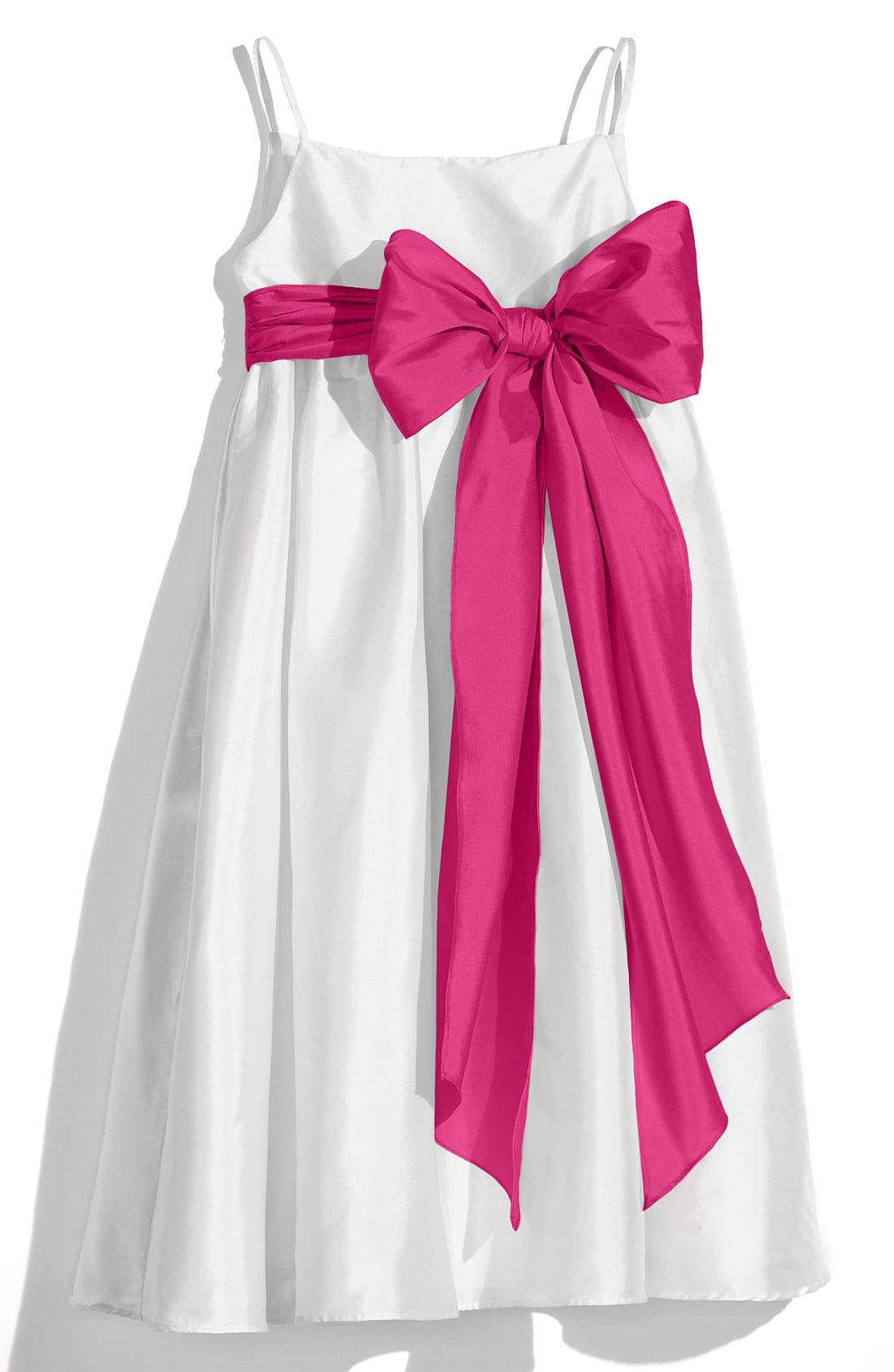 ,                             White Sleeveless Empire Waist Taffeta Dress,                             Main thumbnail 14, color,                             651