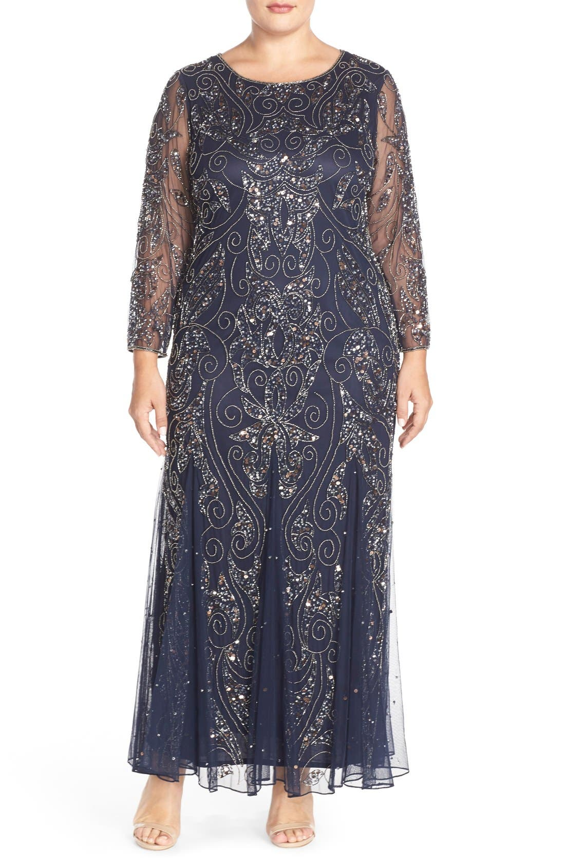 Vintage Evening Dresses and Formal Evening Gowns Plus Size Womens Pisarro Nights Embellished Three Quarter Sleeve Gown Size 14W - Blue $238.00 AT vintagedancer.com