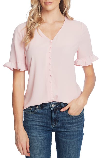 Image of CeCe by Cynthia Steffe 3/4 Sleeve Ruffled Button Down Blouse