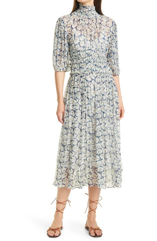 Rebecca Taylor Midi dresses DECO FLEUR ELBOW SLEEVE SILK DRESS