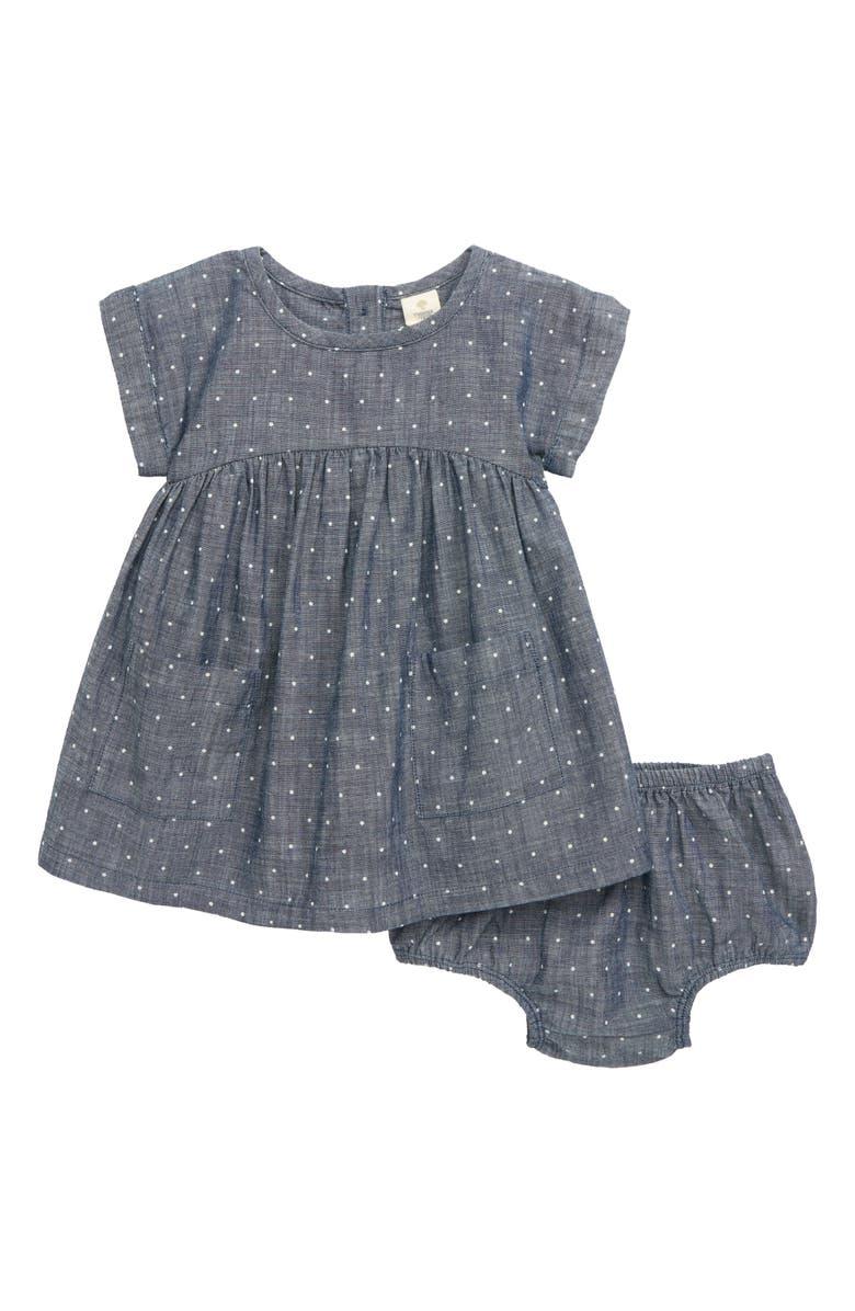 TUCKER + TATE Mini Polka Dot Dress, Main, color, BLUE PIONEER DOT WASH