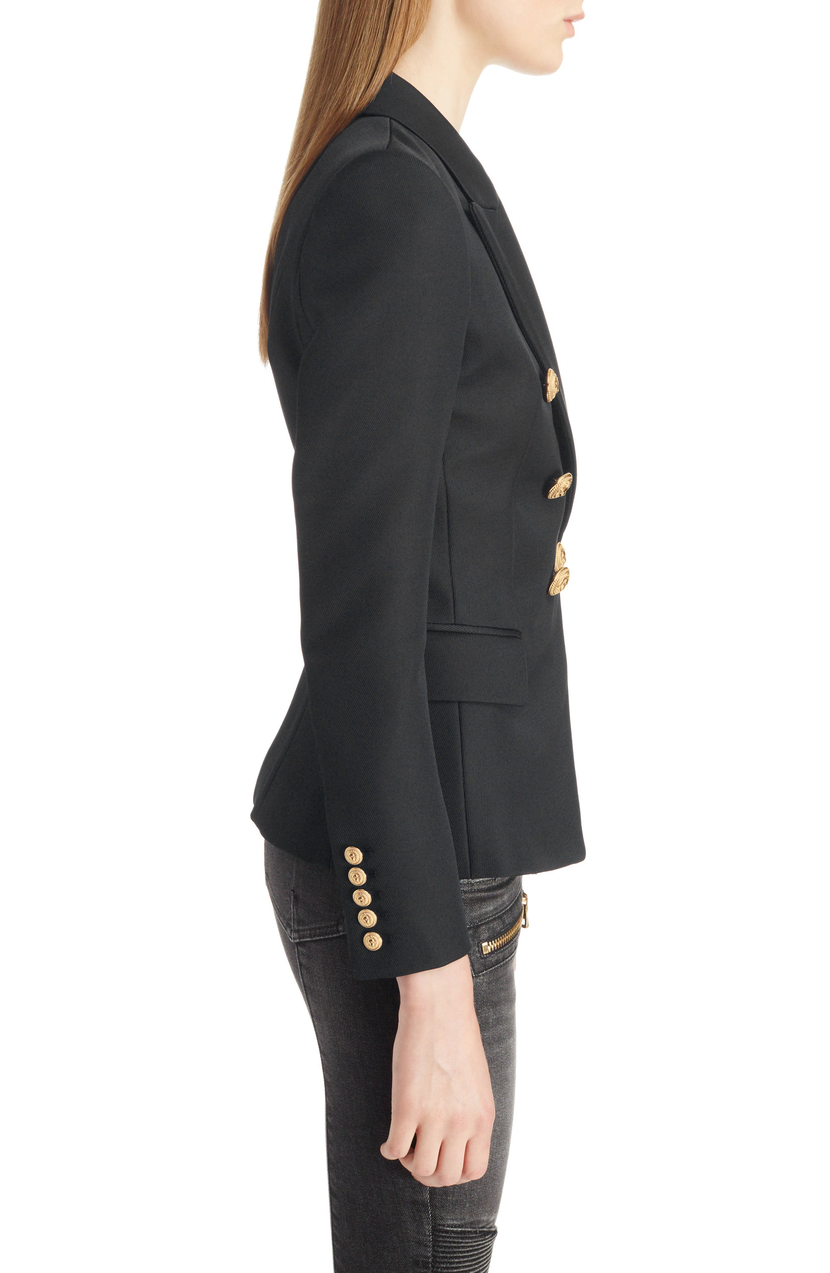,                             Double Breasted Wool Blazer,                             Alternate thumbnail 3, color,                             BLACK/GOLD