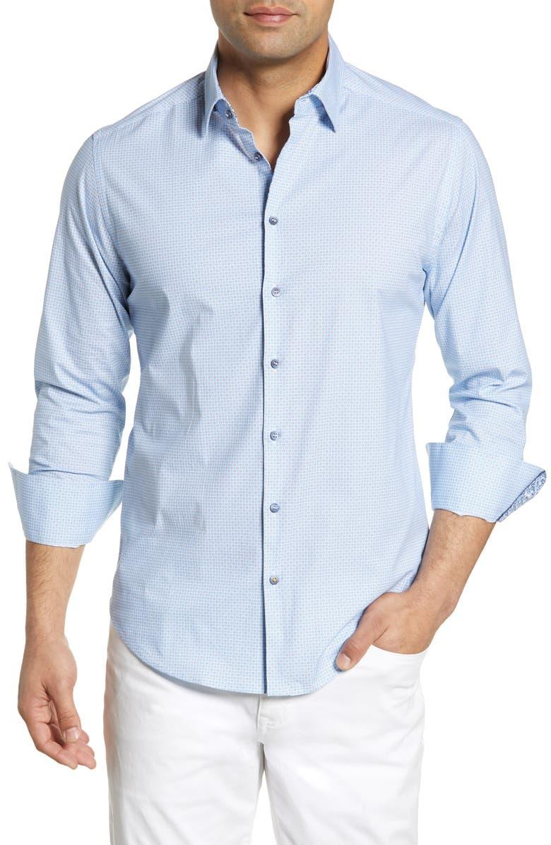 STONE ROSE Regular Fit Geo Print Shirt, Main, color, BLUE