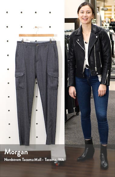 Pinstripe Stretch Wool & Cashmere Cargo Pants, sales video thumbnail