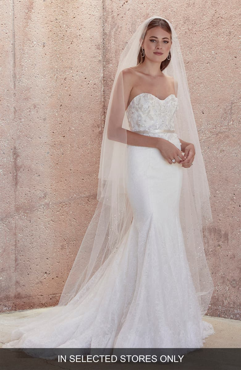 WATTERS Crawford Strapless Lace Mermaid Wedding Dress, Main, color, IVORY