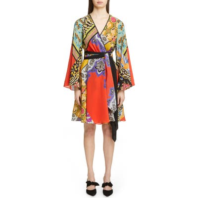 Etro Collage Print Silk Wrap Dress, 8 IT - Red