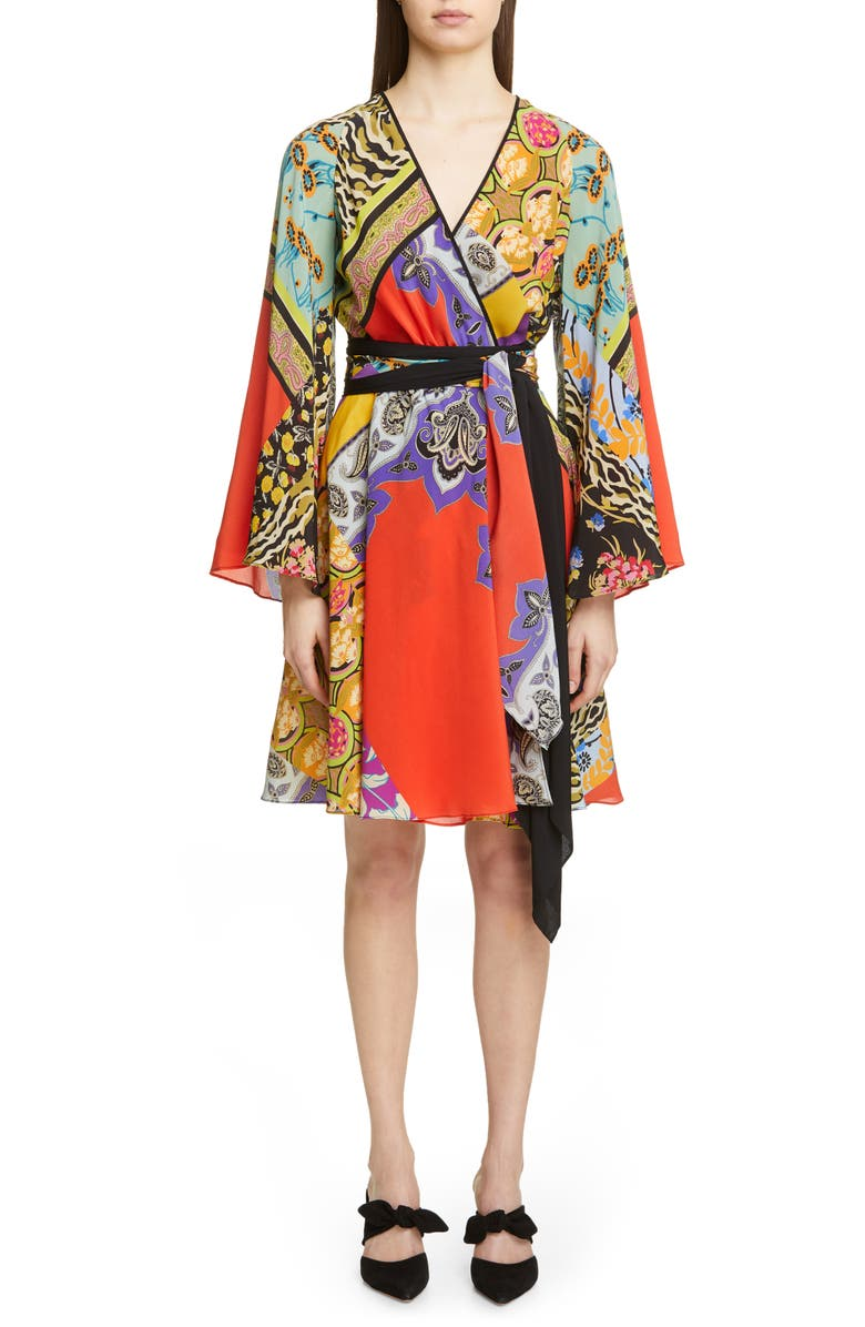 ETRO Collage Print Silk Wrap Dress, Main, color, RED