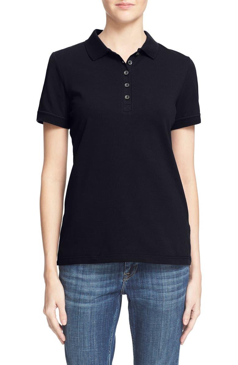 BURBERRY Check Trim Piqué Polo Shirt, Main, color, 410
