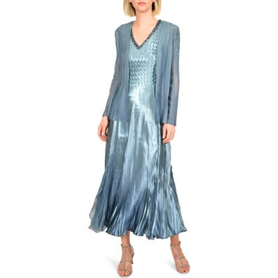 Komarov Embellished Midi Dress With Jacket, Blue/green