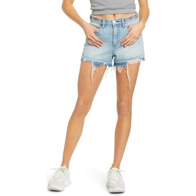 Blanknyc Barrow Beaded Waist Denim Shorts, Blue