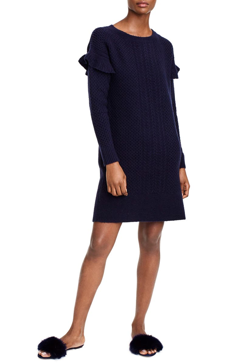 J.CREW Holden Ruffle Sleeve Cable Knit Sweater Dress, Main, color, 400