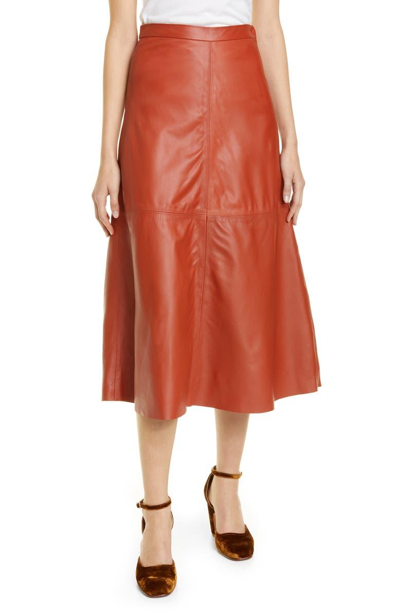 RACHEL COMEY Content Leather Skirt, Main, color, COGNAC