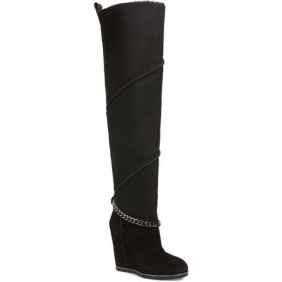 UGG Perfect Pairs Classic Mondri Genuine Shearling Lined Over The Knee Boot, Black