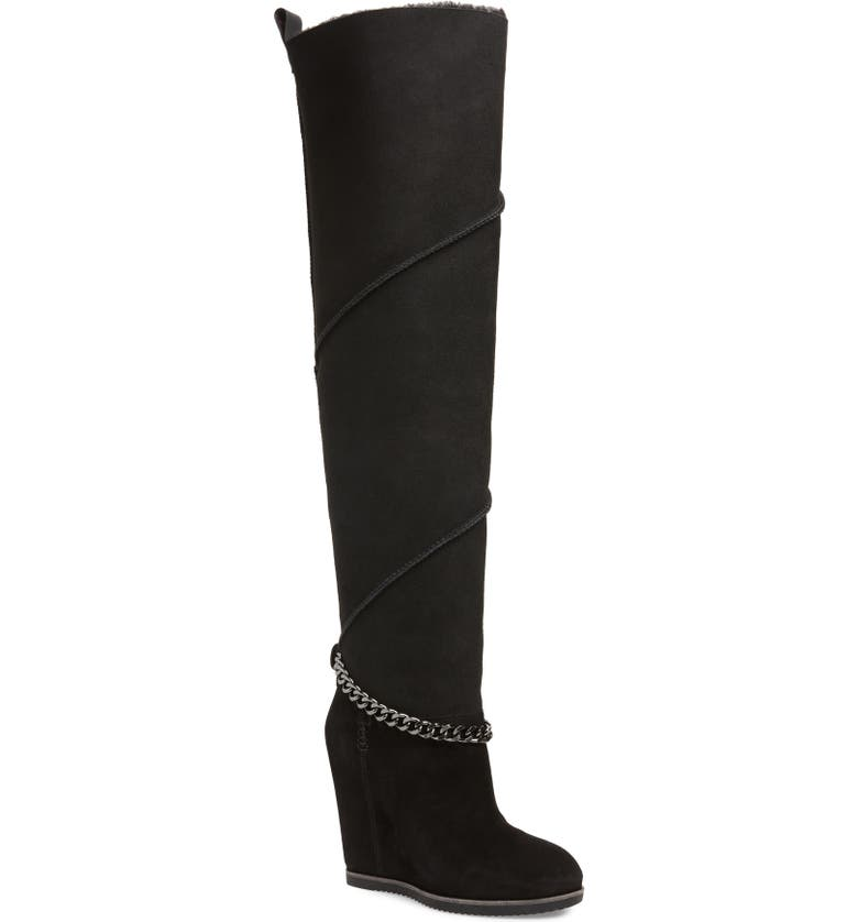 UGG<SUP>®</SUP> Perfect Pairs Classic Mondri Genuine Shearling Lined Over the Knee Boot, Main, color, BLACK SUEDE