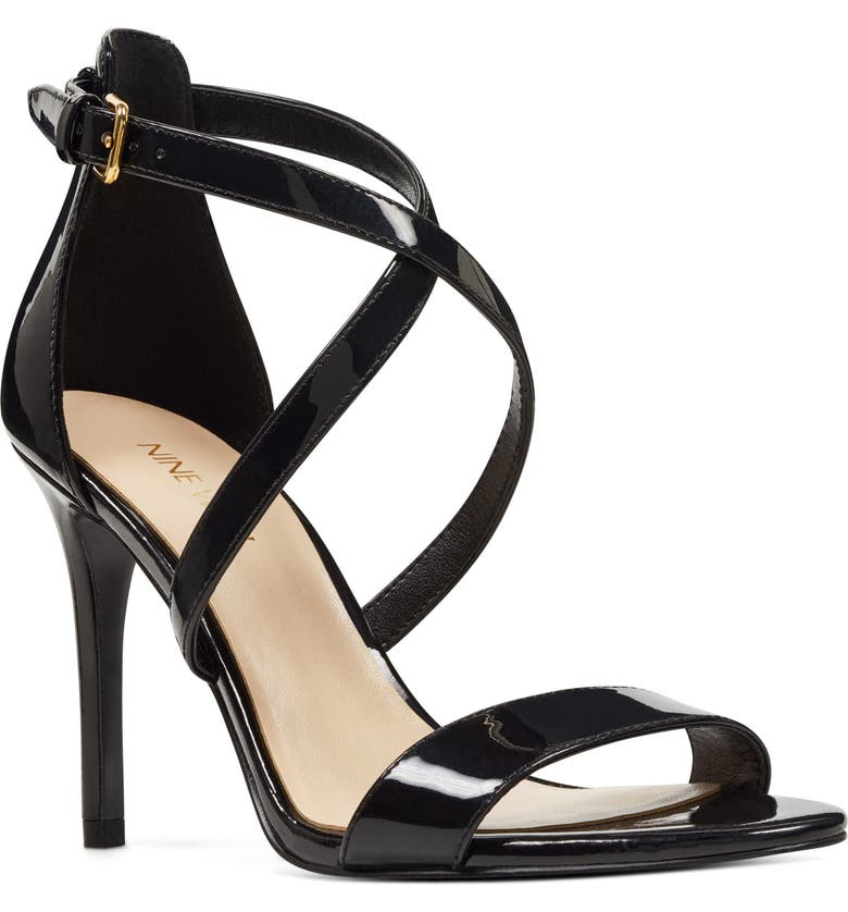 NINE WEST Mydebut Strappy Sandal, Main, color, BLACK FAUX LEATHER