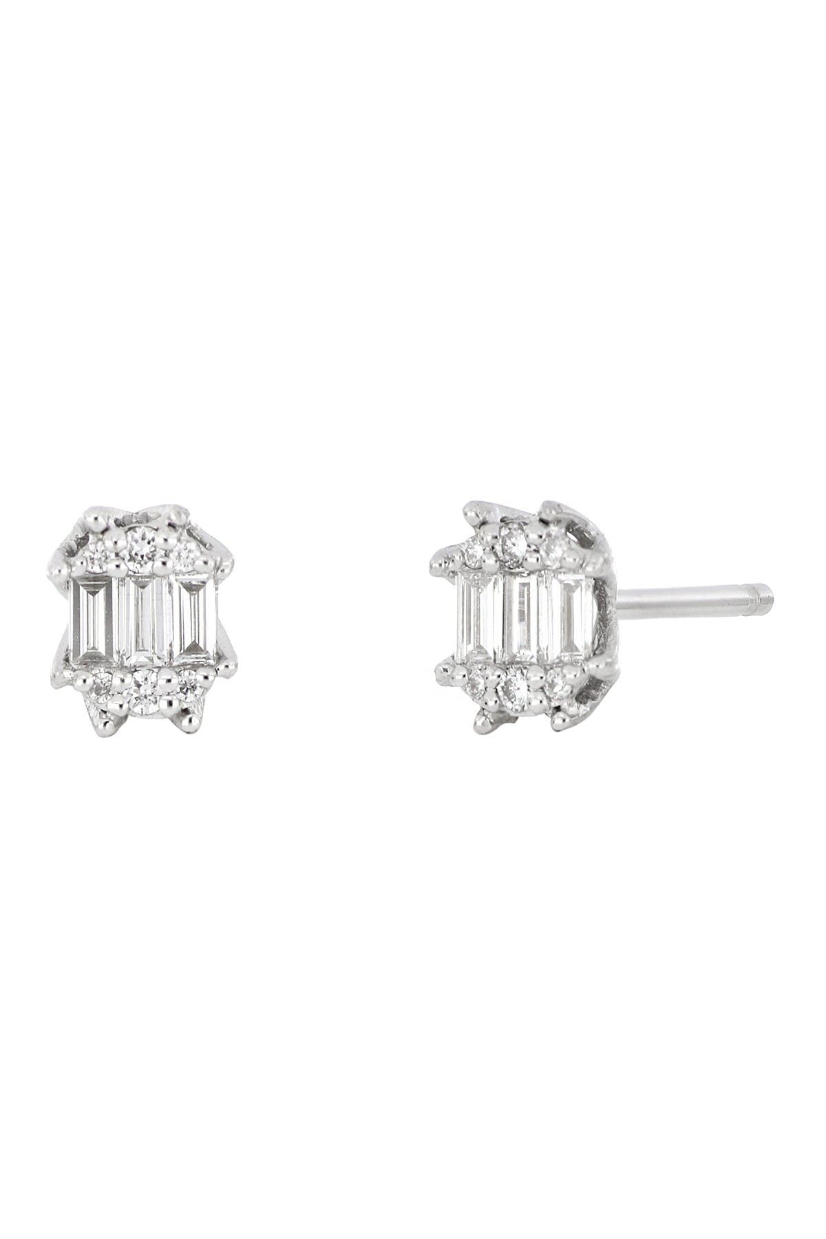 Image of Bony Levy 18k White Gold Petite Gatsby Stud Earrings - 0.18 ctw