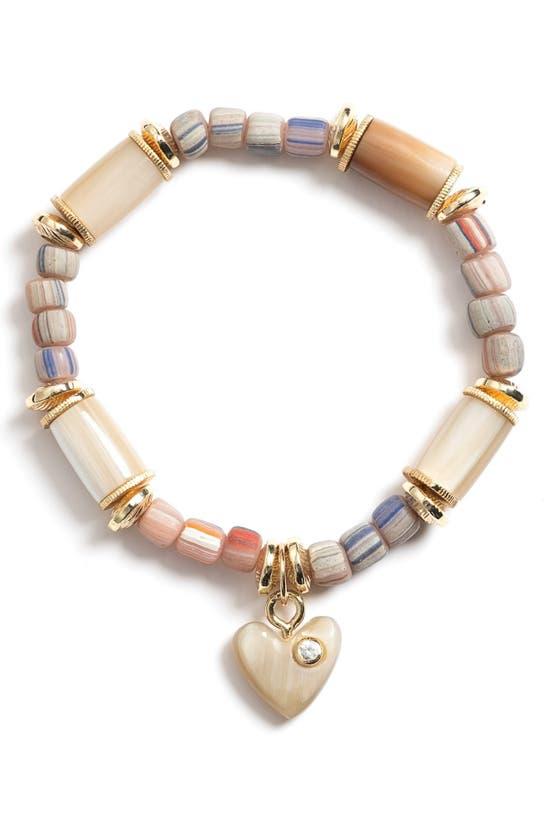 Akola Jasmine Heart Charm Beaded Stretch Bracelet In Peach