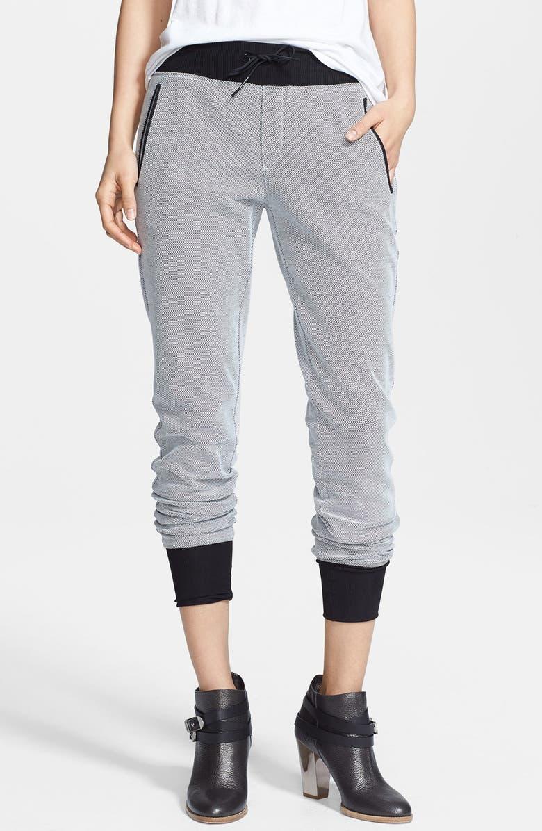 RAG & BONE 'Lena' Cotton Piqué Track Pants, Main, color, 100
