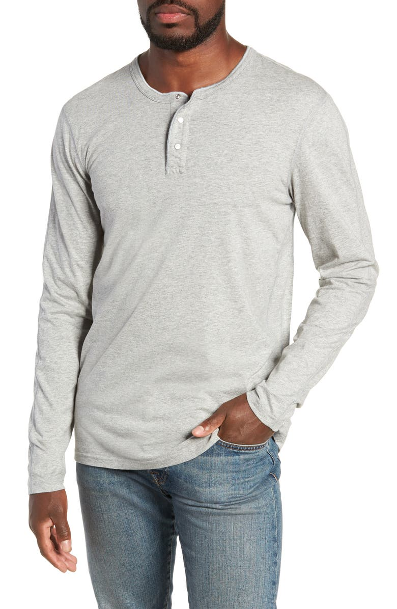 REIGNING CHAMP Long Sleeve Henley T-Shirt, Main, color, HEATHER GREY