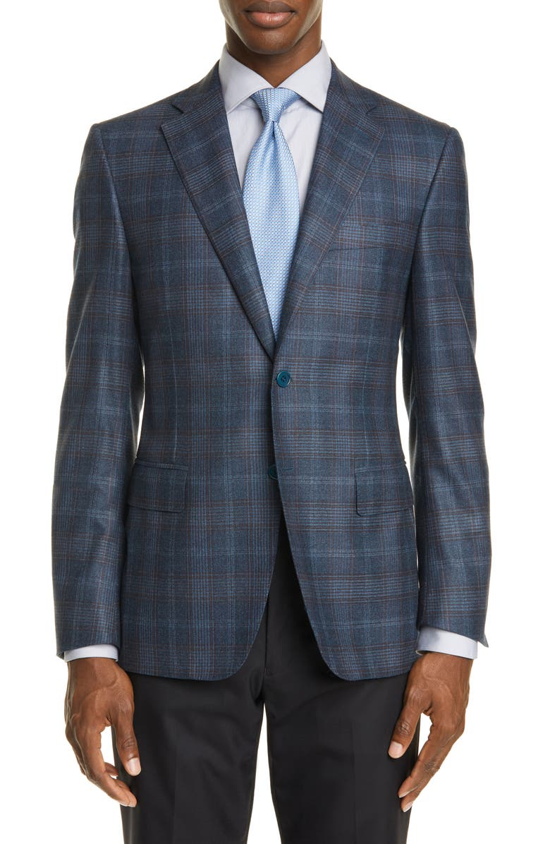 CANALI Sienna Soft Classic Fit Plaid Wool & Cashmere Sport Coat, Main, color, 300