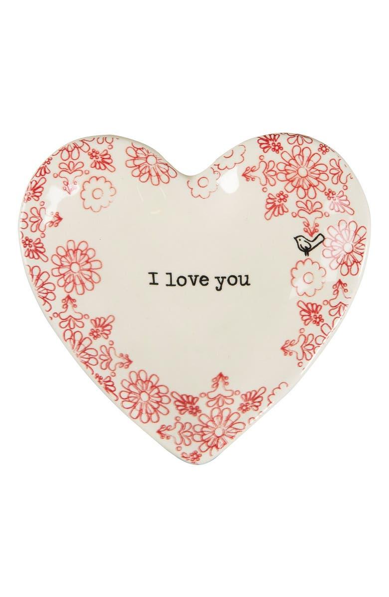 NATURAL LIFE 'I Love You' Ceramic Trinket Dish, Main, color, 100