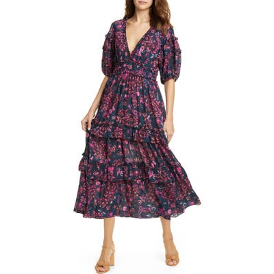 Ulla Johnson Amora Tie Back Floral Midi Dress, Blue