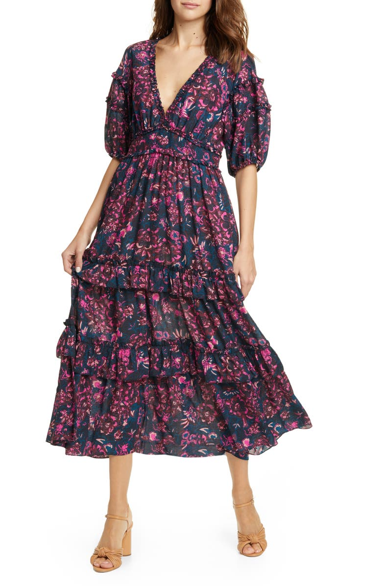 ULLA JOHNSON Amora Tie Back Floral Midi Dress, Main, color, MIDNIGHT