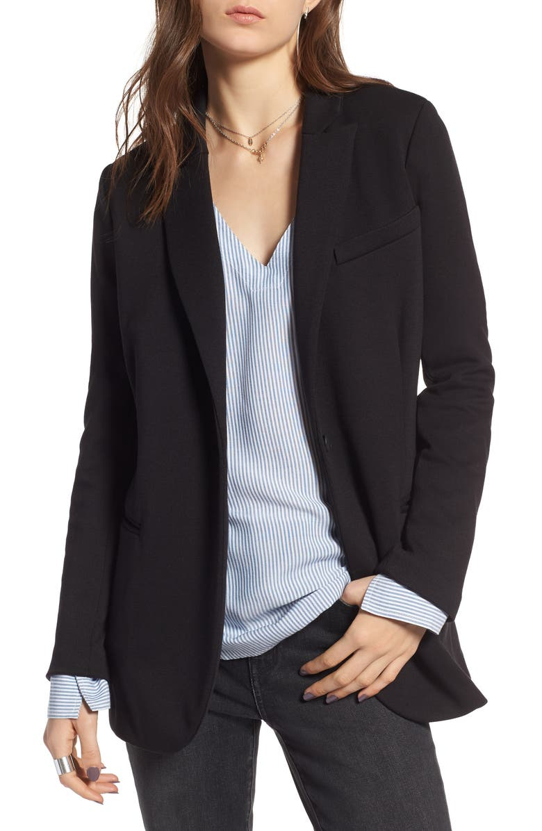 TREASURE & BOND Long Knit Blazer, Main, color, BLACK