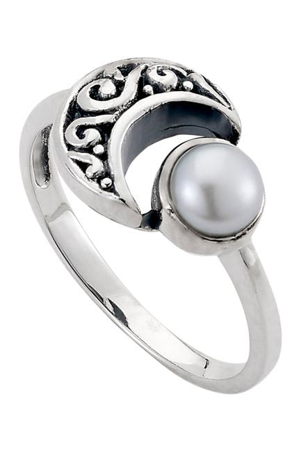Image of Samuel B Jewelry Sterling Silver 5mm Freshwater Pearl Moon Ring
