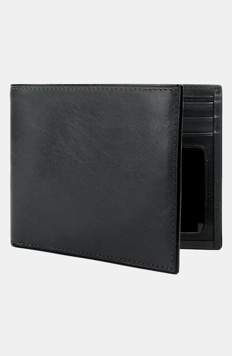 BOSCA Leather Bifold Wallet, Main, color, BLACK