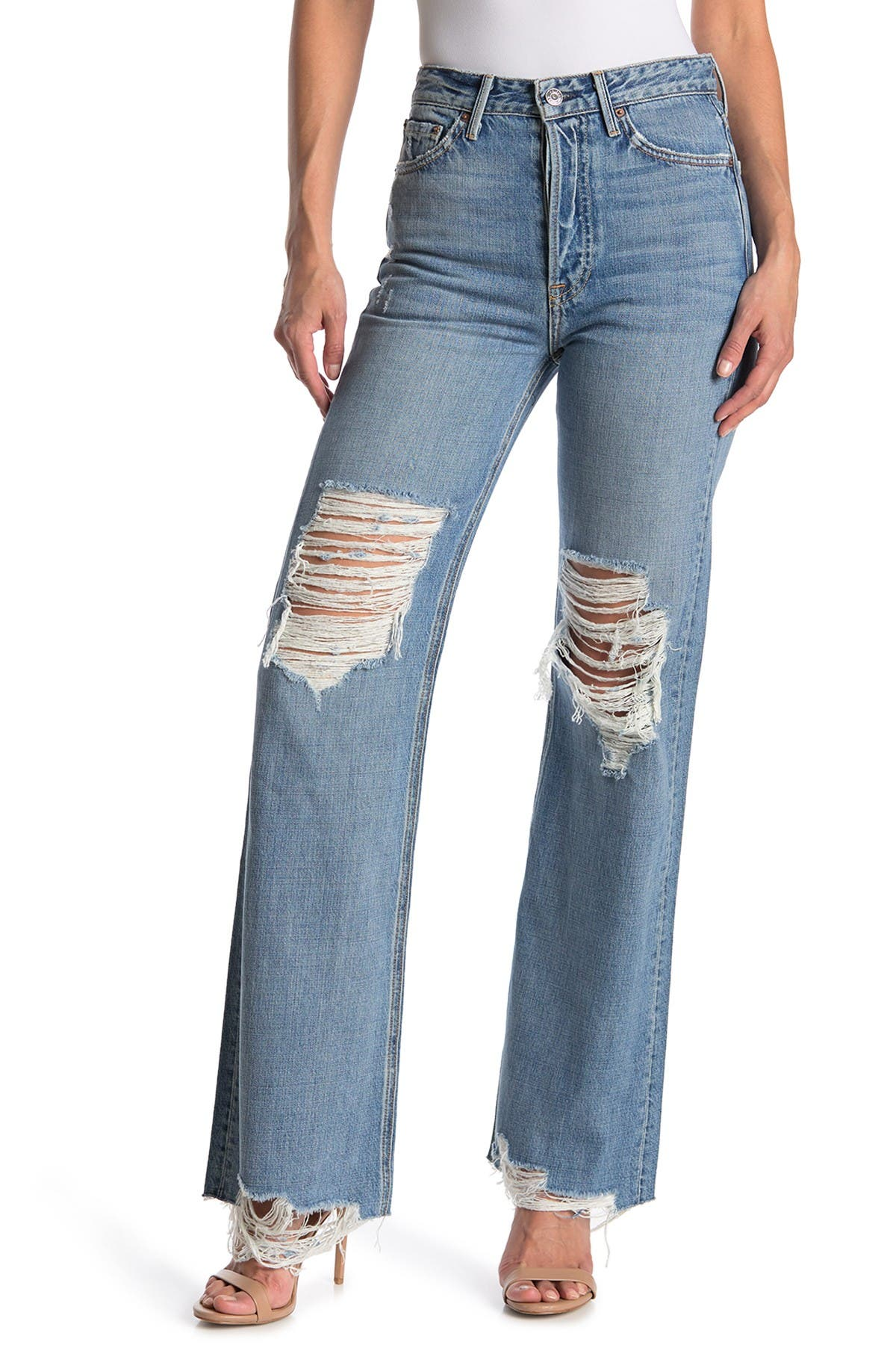 Image of GRLFRND Carla Distressed High Waist Wide Leg Jeans
