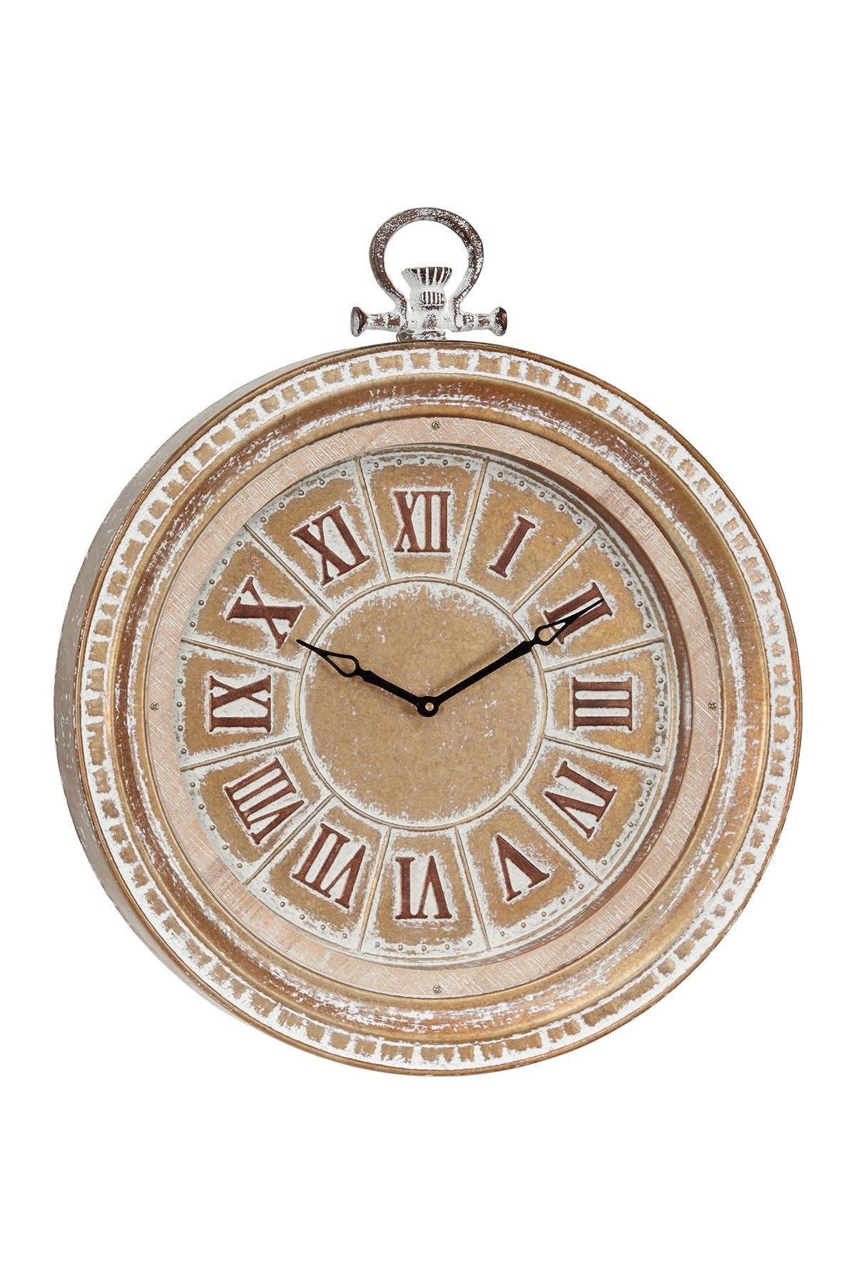 Image of Willow Row Beige Vintage Metal Wall Clock